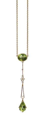 A peridot and seed pearl pendant, a seed pearl bar brooch, and a sapphire ring (3)