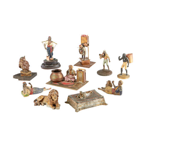 A collection of ten early 20th century and later cold painted spelter figures