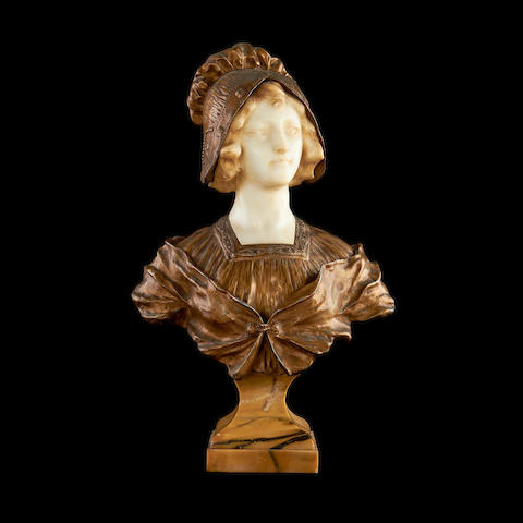 After Affortunato Gory, Italian (Fl. 1895-1925)  An early 20th century alabaster and gilt metal bust of a girl