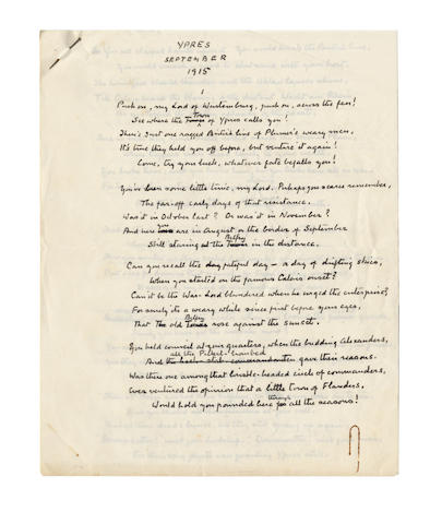 DOYLE, CONAN ARTHUR (1859-1930) AUTOGRAPH REVISED MANUSCRIPT OF HIS POEM 'YPRES SEPTEMBER 1915', signed, [1915]