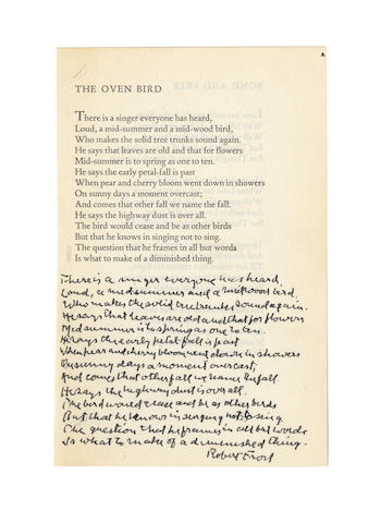 FROST, ROBERT (1874-1963, American poet) AUTOGRAPH MANUSCRIPT OF HIS POEM 'THE OVEN BIRD', signed