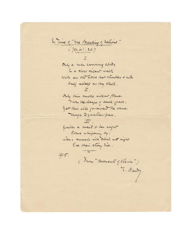 "HARDY, THOMAS (1840-1928) AUTOGRAPH MANUSCRIPT OF HIS CELEBRATED POEM 'IN TIME OF ""THE BREAKING OF NATIONS""',"