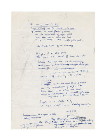 HEANEY (SEAMUS, b. 1939, Irish poet) AUTOGRAPH DRAFTS OF HIS POEM 'SONG' FROM 'FIELD WORK', 1978