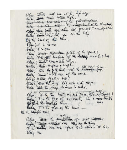 HUGHES, TED (1930-1998) AUTOGRAPH DRAFTS OF TWO 'CROW' POEMS [FRAGMENT OF ANCIENT TABLET] AND [NOTES FOR A LITTLE PLAY] AND [THERE CAME A DAY] FROM 'SEASONS SONGS', [c.1968-1970]
