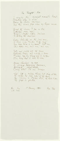 HUGHES, TED (1930-1998) AUTOGRAPH MANUSCRIPT OF HIS MOST FAMOUS AND MOST ANTHOLOGISED POEM 'THE THOUGHT-FOX', 1990