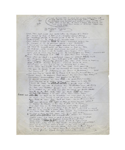 KIPLING, RUDYARD (1865-1936) AUTOGRAPH REVISED MANUSCRIPT OF HIS WELL-KNOWN POEM 'McANDREW'S HYMN', signed, [1893]