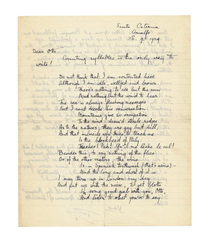BUNTING, BASIL (1900-1985) IMPROMPTU VERSE, ON THE FIRST PAGE OF AN AUTOGRAPH LETTER SIGNED ('B'), addressed to Otto [Theis], 1929