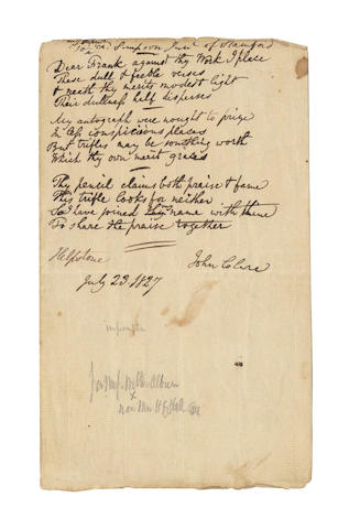 CLARE, JOHN (1793-1864) AUTOGRAPH MANUSCRIPT OF AN UNPUBLISHED AND UNRECORDED IMPROMPTU POEM, SIGNED ('John Clare'), 1827