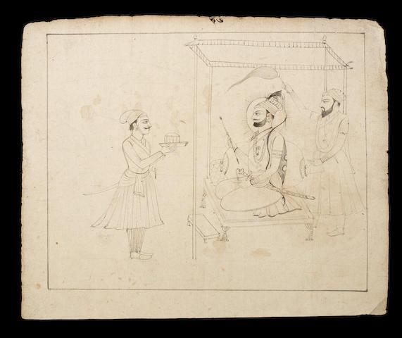 The Sikh Guru Govind Singh seated with an attendant under a canopy, a devotee before him Guler, circa 1820