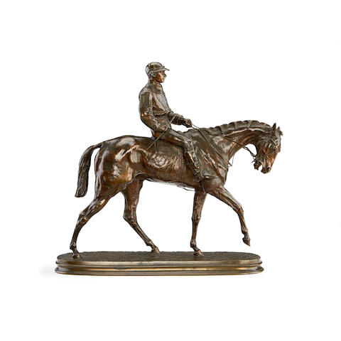 Pierre Jules Mêne, French (1810-1879) A bronze model of a jockey and racehorse Jockey À Cheval No 1