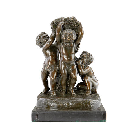 After Joseph D'aste, Italian, (active 1905-1935) A modern bronze of three putti