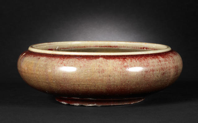 A flambé-glazed shallow bowl  Qing Dynasty