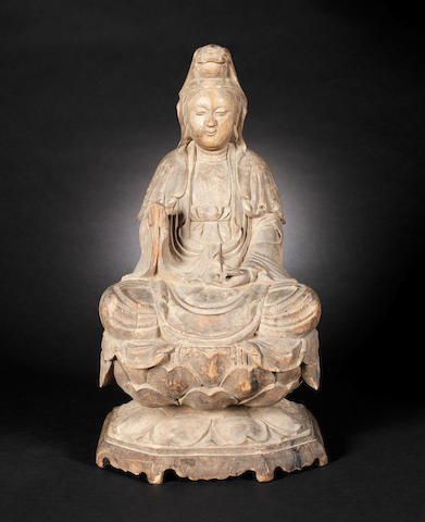 A wood figure of Guanyin Qing Dynasty or later CHECK