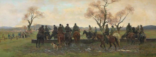 Eugenio Cecconi (Italian, 1842-1903) Sosta dei cacciatori per far abbeverare i cavalli