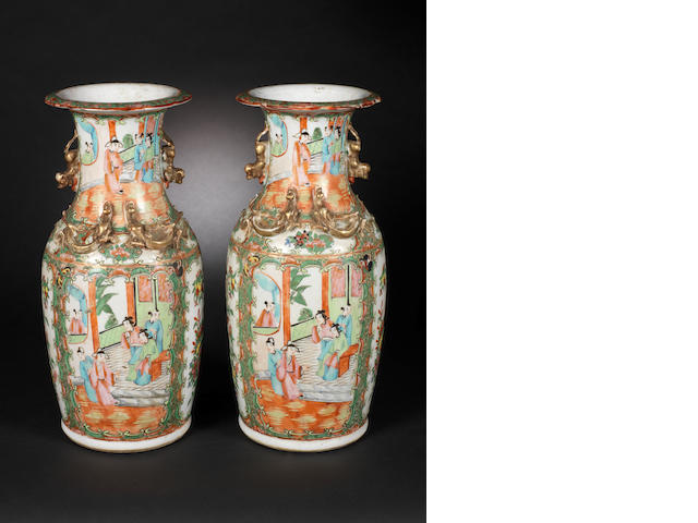A pair of Canton famille rose vases 19th century