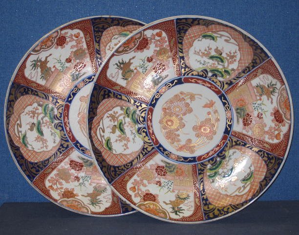 A pair Japanese Imari porcelain chargers