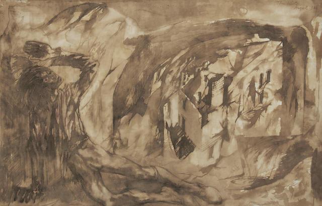 John Minton (British, 1917-1957) Figure in a landscape