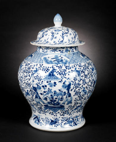 A blue and white jar and cover 19th century, Kangxi four-character mark