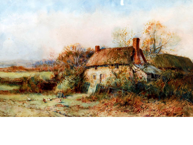 Follower of Henry John Sylvester Stannard, RBA (British, 1870-1951) Thatched cottage with chickens before