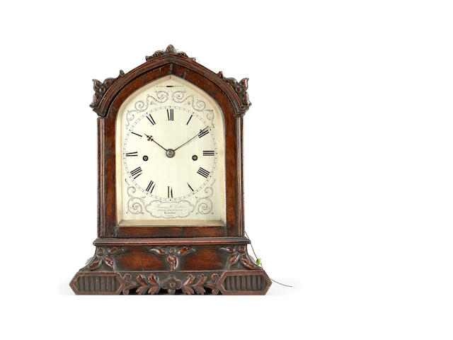 An early Victorian mahogany table clock with repeat by James McCabe