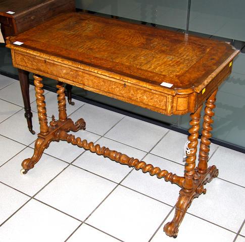 An unusual Victorian ash & walnut side table
