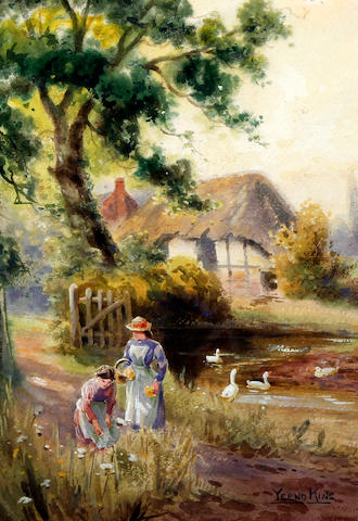 George Gregory (British, 1849-1938) Figures on a lane before a cottage