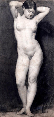 Eyre Crowe (British, 1824-1910) Life drawing of a standing female nude