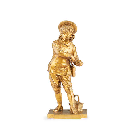 Eutrope Bouret, French (1833-1906)  A gilt bronze figure of a boy