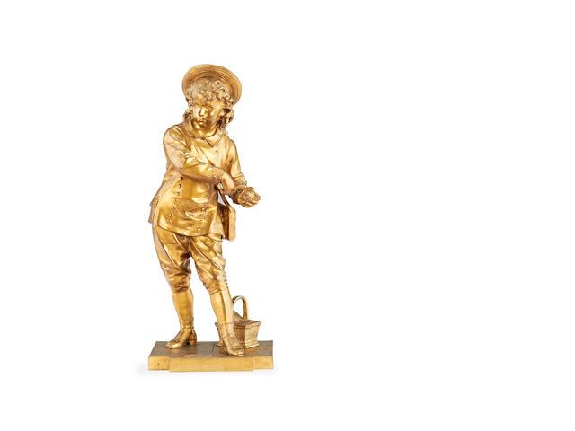Eutrope Bouret, French (1833-1906)  A gilt bronze figure of a boy