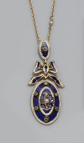 A Victorian style enamel, diamond and seed pearl pendant