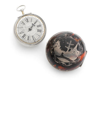 Nathaniel Chamberlain. A very fine and rare late 17th century tortoiseshell and inlaid silver pair case single hand pocket watchCirca 1690