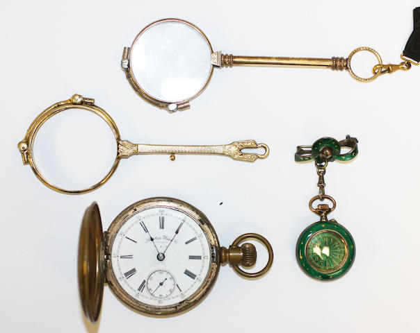 A lady's early 20th Century green guilloche enamelled fob watch, gilt with stars and fleur de lys, suspended from a ribbon tied horseshoe bar brooch, in green plush case, two pairs of lorgnettes, one lacking glasses, and an American gilt metal cased hunter pocket watch, by Peerless Watch Co.