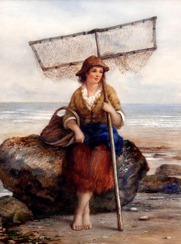 James Drummond (British, 1816-1877) Fishergirl on the shore