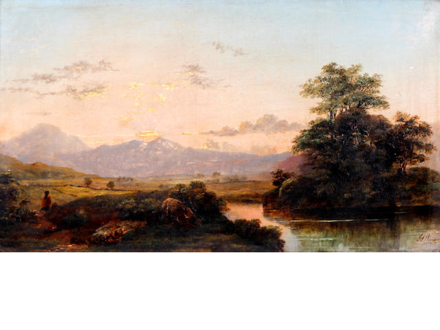 Sir James Lawton Wingate, RSA (British, 1846-1924) Scottish river landscape with figure before