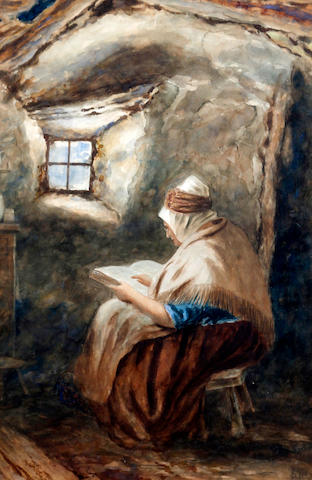 Joseph Clark, ROI (British, 1834-1926) Woman reading in an interior