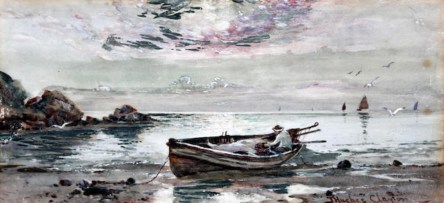 James Hughes Clayton (British, active 1891-1929) Fishing boat on the shore, possibly Cemaes Bay