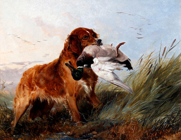 Circle of Richard Ansdell, RA (British, 1815-1885) Water spaniel with catch