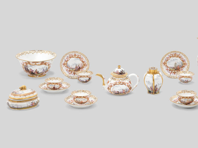 A very rare Meissen tea and coffee service, circa 1726-28