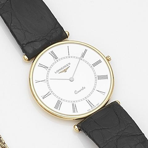 Longines. An 18ct gold quartz ultra thin wristwatch Ref:16385, Case No.26949276, Circa 1990