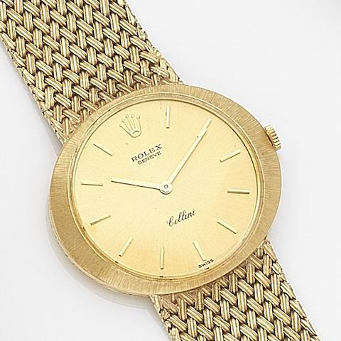 Rolex. An 18ct gold manual wind bracelet watch Cellini, Ref:3656, Case No.128****, Circa 1970