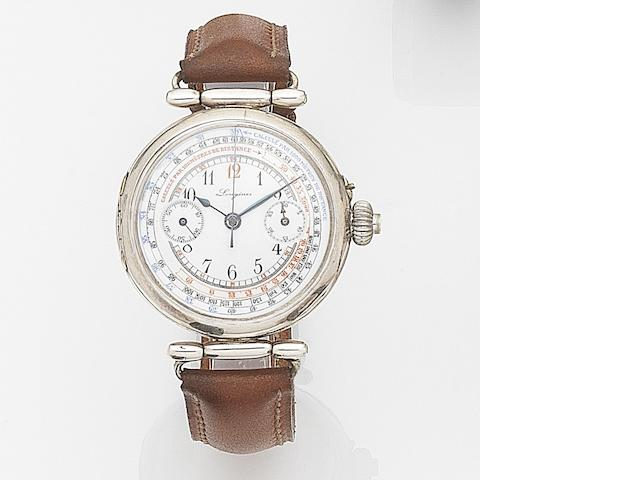 Longines. A silver manual wind single button chronograph wristwatch Case No.2961942, Circa 1920