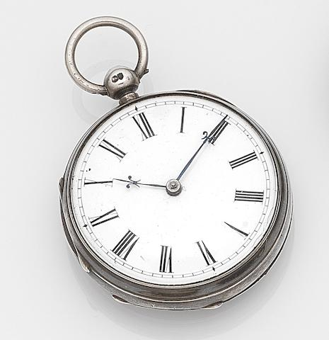 Vuilliamy. A silver key wind open face pocket watch in later caseCirca 1795
