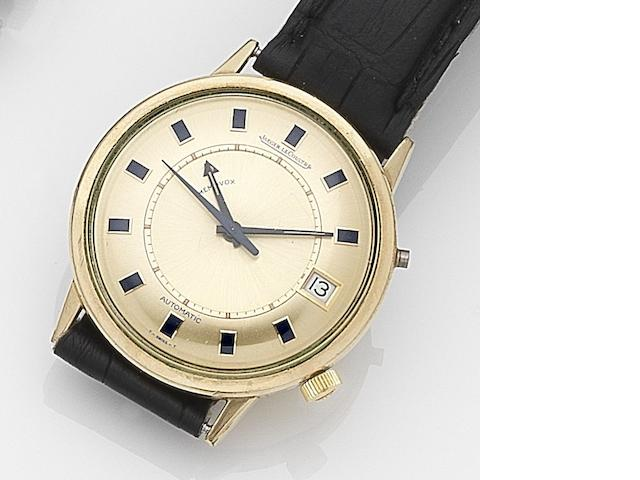 LeCoultre. A gold plated automatic calendar alarm wristwatch Memovox, Case No.1272228, Circa 1960