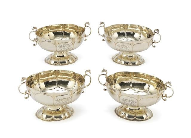 Four Dutch silver two-handled oval brandy bowls by Groot Boersma of Sneek, also with import marks for Samuel Boyce Landeck Sheffield 1896,