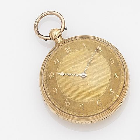 Desbois & Wheeler, London. An 18ct gold key wind open face pocket watchCase No.309, Movement No.2309, London Hallmark for 1813