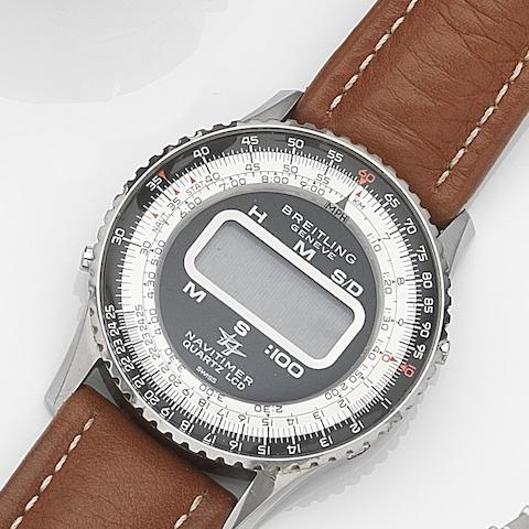 Breitling. A stainless steel quartz chronograph wristwatch Navitimer Quartz LCD, Ref:9406, Case No.1443947, Circa 1978