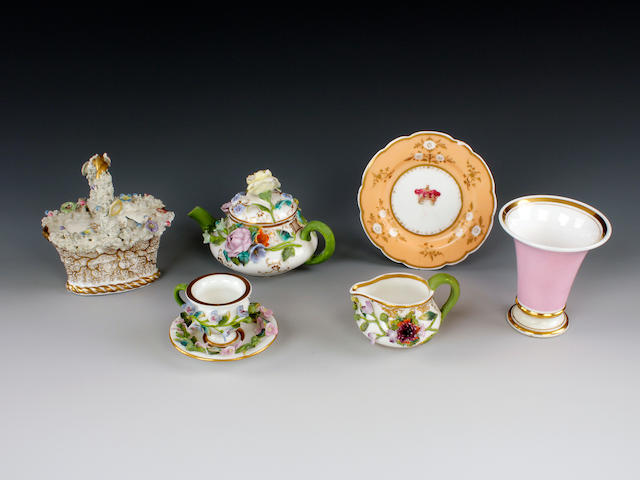 Chamberlain Queen Victoria plate and a basket, Flight vase, Minton miniature encrusted teapot, jug and cup and saucer