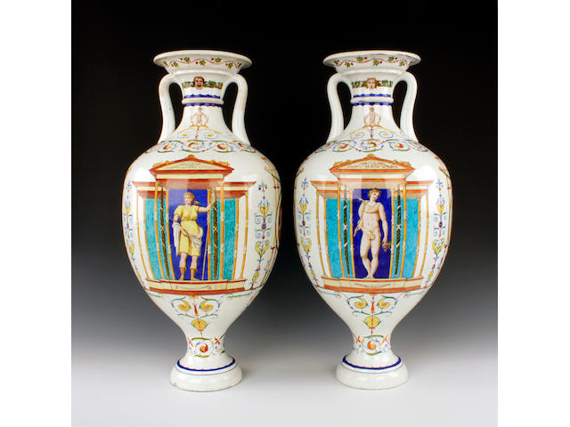 A pair of large Minton vases, circa 1850-60
