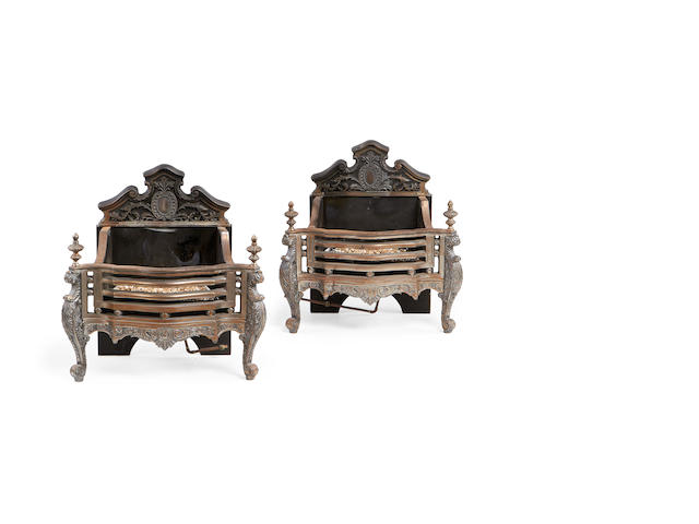 A pair of steel and cast iron Regency style firegrates