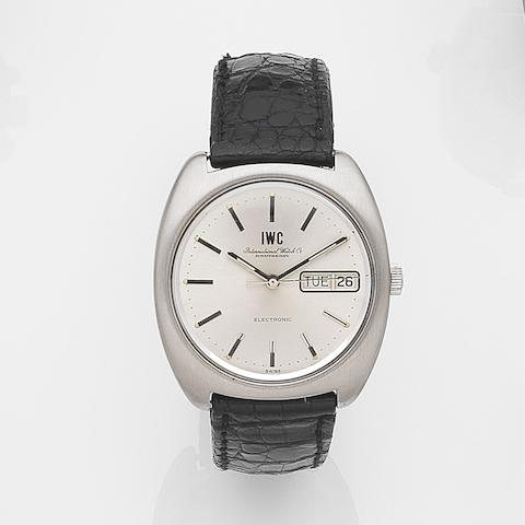 IWC. A stainless steel quartz calendar wristwatch Circa 1980